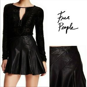 Free People | Blck Mini Circle-Skirt, Faux Leather